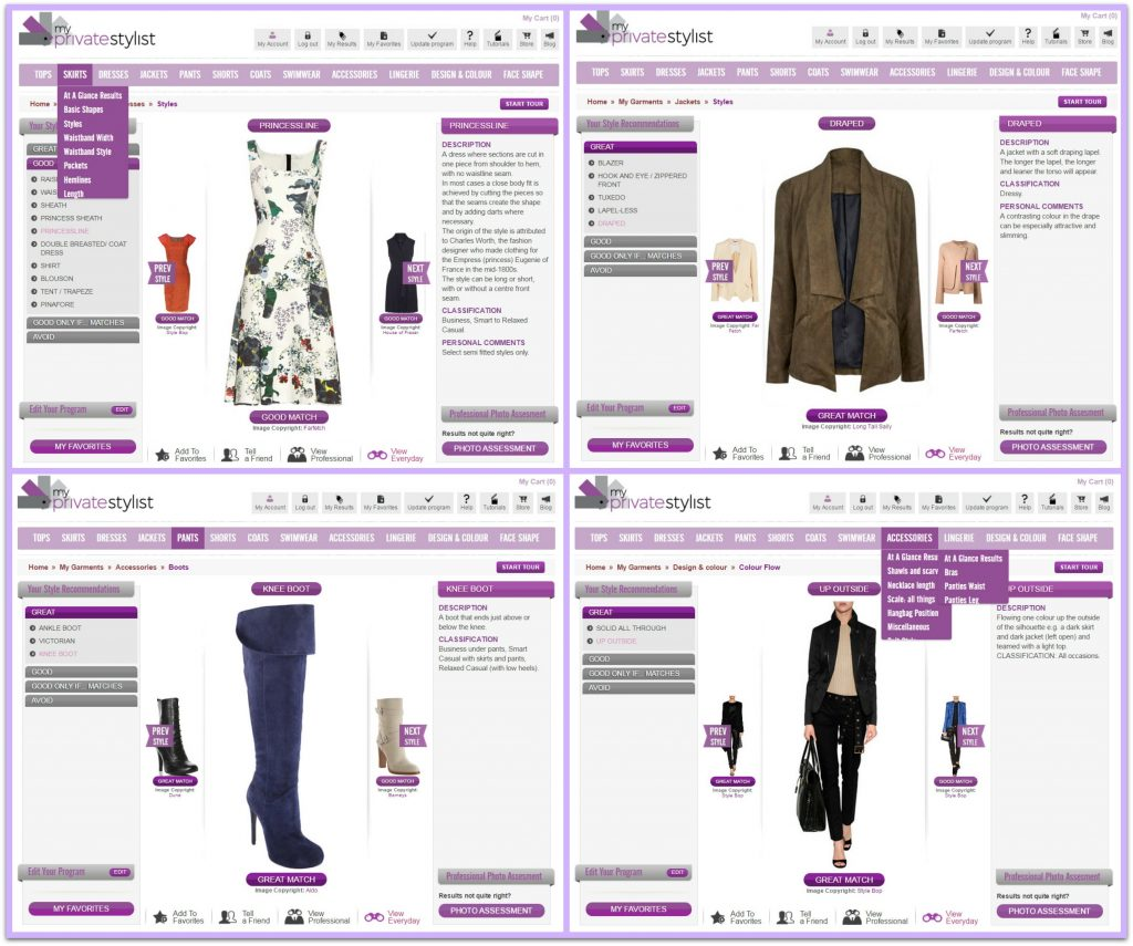 My Private Stylist page examples of clothes to suit your body shape, dresses which suit, jackets, boots and even handbags to suit