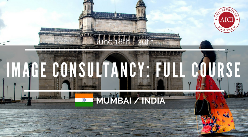 12 day Image Consultant training course Mumbai. Image of Gateway to India with colourful model