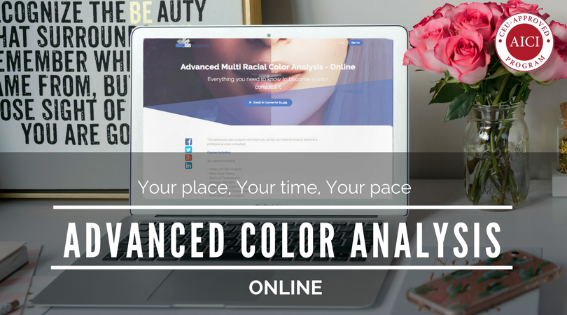 online colour consultant training page open on computer
