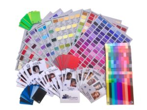 color consultant training tools, direction boards, face cards colour analysis student tools