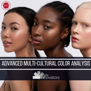 3 beautiful women of differnet colouring under text advanced multi racial colour analysis