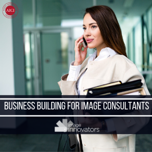 Business woman with folders under text saying business building for image consultants