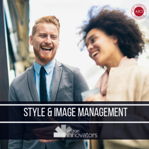 two people laughing under text for style and image management course