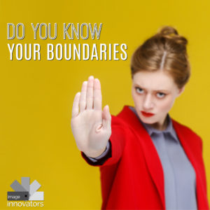 Text know your boundaries over girl with hand out to stop a person