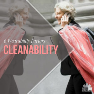 Woman with dry cleaning under the text cleanability - knowing what it costs to maintain an outfit