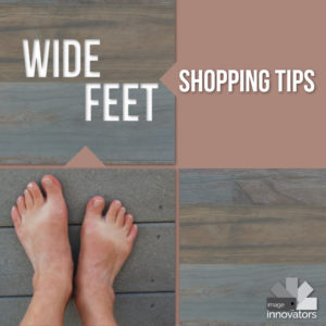picture of feet under text wide feet shopping tips